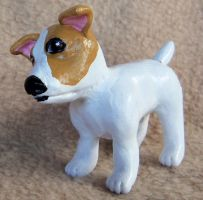 Miniature polymer clay Jack Russell Terrier sculpt by CreativeCritters