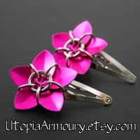 Pair of Pink Flower Barrettes by Utopia-Armoury
