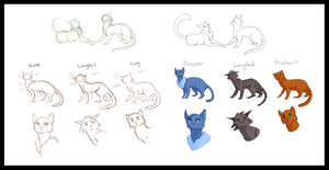 Warrior Cats Character Design Concepts by luckyveda