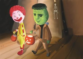 Ronald and Boris Trick or treating by ChristopherReality