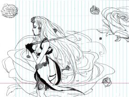 Rose Woman Sketch by Rorani