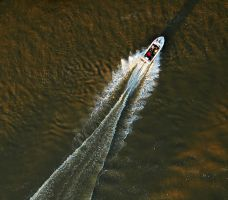 Aerialphoto - Motorboat by Aero73