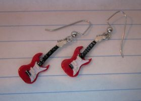 Polymer Clay Guitar Earrings by SelfishKitty