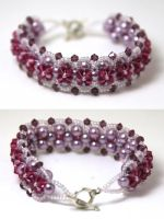 Purple Crystal/ Pearl Bracelet by kokito85