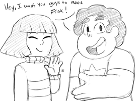 I want you to meet- (UT and SU Crossover doodle) by AccursedAsche