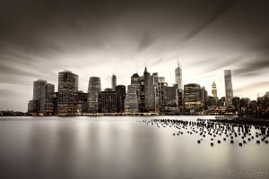 The Light against The Darkness - NYC from Brooklyn by BrunoCHATARD