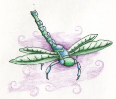 Green Dragonfly by InkedPage