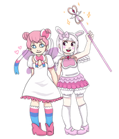 magical girls sylveon and usami!~ by MiseraBunny