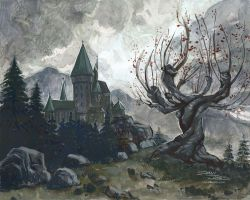Hogwarts and the Whomping Willow by danidraws