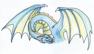 Blue dragon watercolor by Tallonis