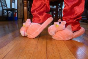 Pink Panther scuff slippers, side by ExileLink