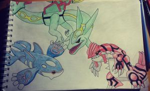 Rayquaza Kygore and Groudon Drawing by Krayzieee