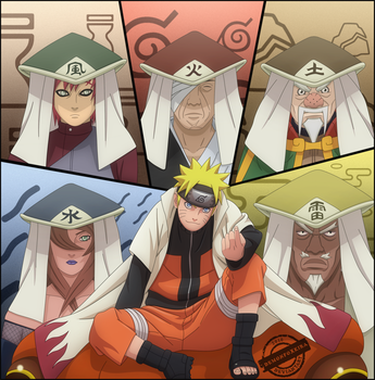 Naruto with the 5 kages by DemonFoxKira
