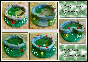 5 OOAK Polymer Clay Ponds by Forestina-Fotos