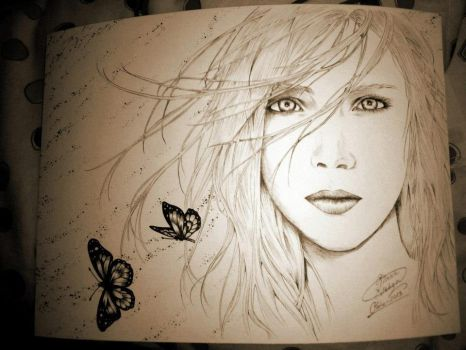 girl with butterfly by the1illustrator