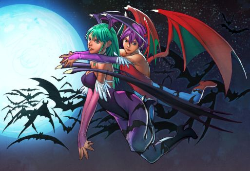 Morrigan and lillith by TeoGonzalezColors