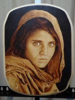 Sharbat Gula Afghan Girl 1984 Woodburning by Rob31Art