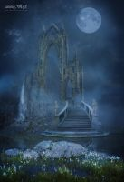 Moonlit Fantasy Landscape by annewipf
