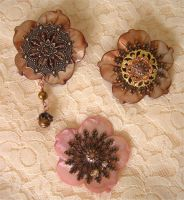 Shell Flower Pins by ElegantlyEccentric