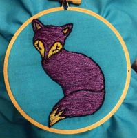 Purple embroidery fox by KitWolfren