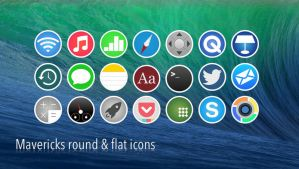 Mavericks round and flat icon preview by disgruntledone
