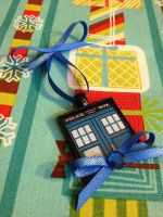 Tardis Christmas Ornament - Handmade by Monostache