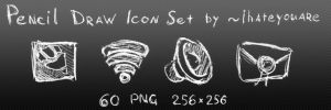 Pencil Draw Icon Set White by ihateyouare