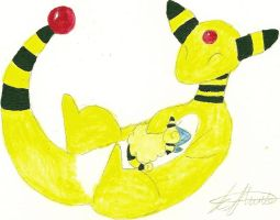 Painting: Ampharos and child by Vivid-Dreamer-Kimiko