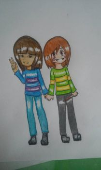 .:Fanart:. Frisk and Chara-Undertale by wiki9997