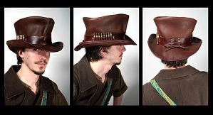 Leather Top Hat by Lastwear