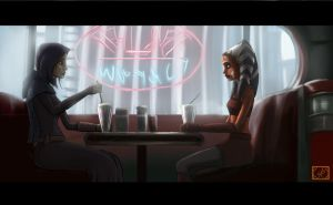 Ahsoka n Barriss dining at Dex by Raikoh-illust