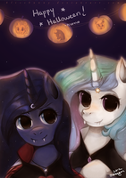 Two Sisters on Halloween by Felynea