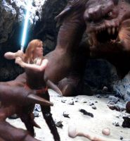 Mara vs Rancor by CarpeDiemRedhead