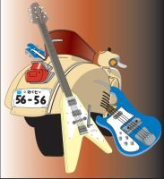 FLCL Vespa and Guitars by mudungus