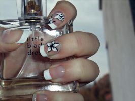 nails french manicure with white flowers by SoBiEsKii