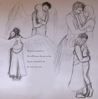 Castiel needs a hug - SPN fanart sketch c: by Amber100