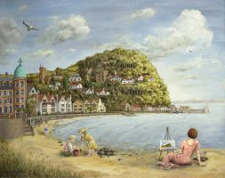 Minehead Bay, Somerset UK. Oil on panel 20 x 30inc by timwetherell