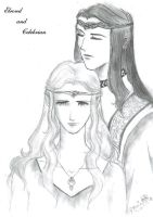 Elrond and Celebrian by nekohime
