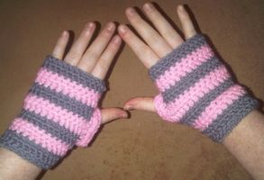 Baby Pink and Dark Grey Striped Fingerless gloves by Whyte-Raven