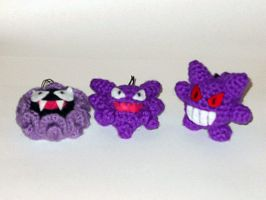 Gastly, Haunter, and Gengar Zipper Pulls by black-moon-flower