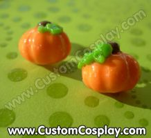 Pumpkin stud earrings by The-Cute-Storm