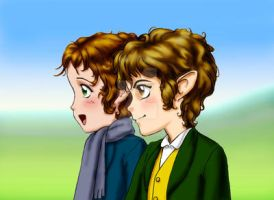 Merry and Pippin w. background by SapphireGamgee