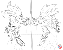 Sonic and Shadow sketch by shadowhatesomochao