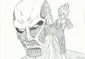 Vegeta vs. Colossal Titan by RudeKaiser396