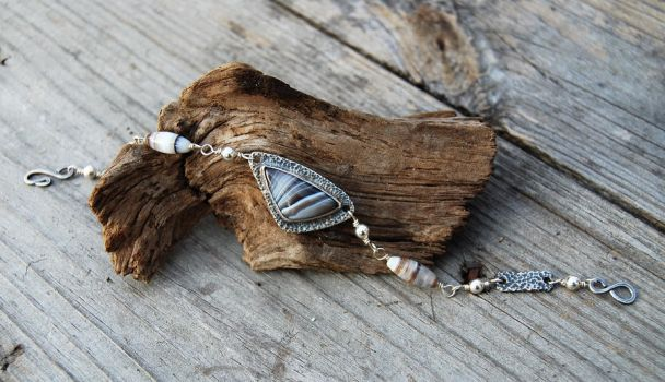Silver and Agate Bracelet by DreamingDragonDesign