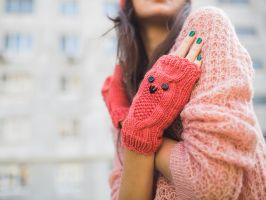 Knited Coral Owl Wrists by NatalieKnit