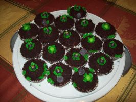 Bomb Flower Cupcakes by Katzy