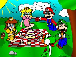 Mario and his friend at picnic by ruseau
