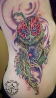 Earth Owl Rib Tattoo done by Sean Ambrose by seanspoison