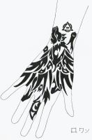 Winged Wolf Glove Tattoo by rowan-of-wonderless